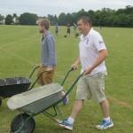Kev and Rat practising wheel borrow races