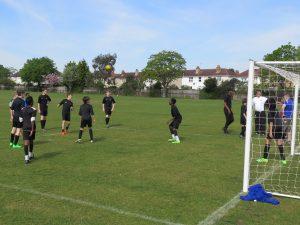 The u13s practising